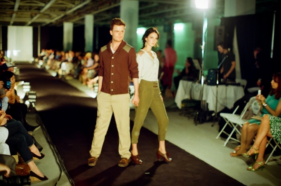 Callum modelling an early Jedediah version at the Pacific Design Academy Fashion Show