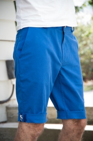 The bright blue result of our Jedediah Shorts Sew-along!