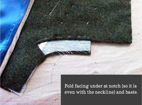 fold uner and baste