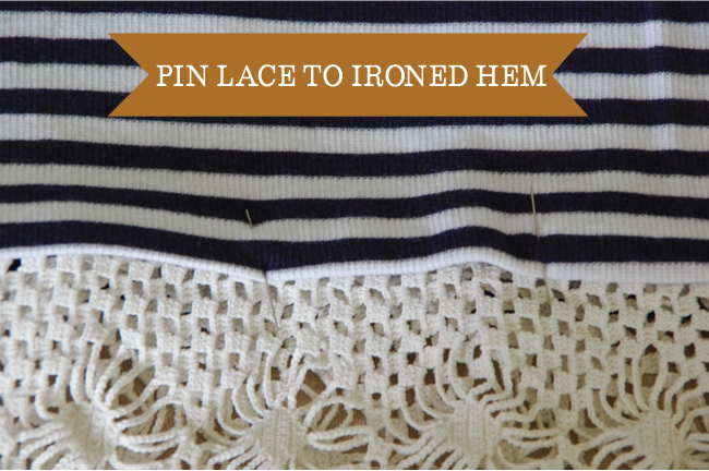 Embellish - pin lace to ironed hem