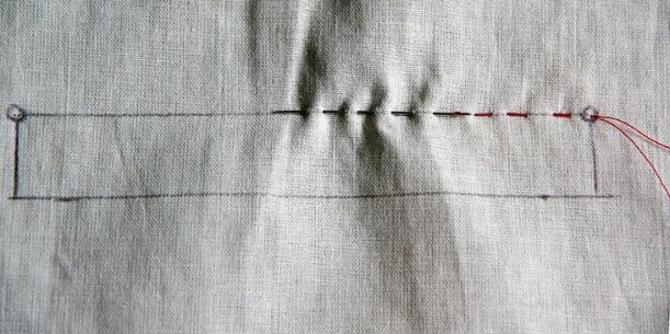 Baste along markings