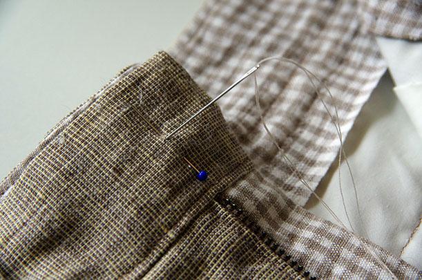 button - begin sewing