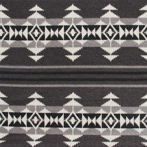 Navajo Indian Blanket Gray Black Hacci Sweater Knit