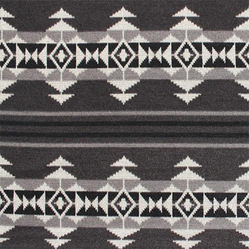 Navajo Indian Blanket Gray Black Hacci Sweater Knit