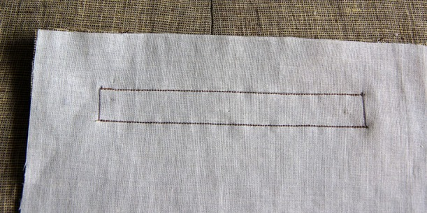 Stitch along marked lines