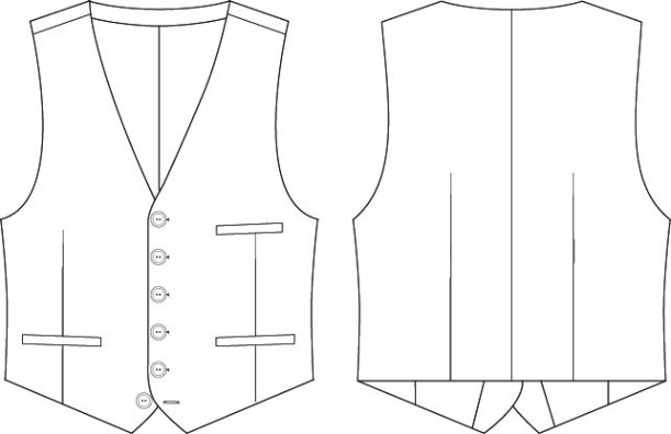 Belvedere Waistcoat line drawings