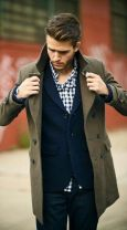 Buffalo check and olive Peacoat