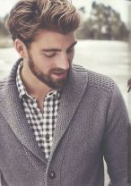 Buffalo check shirt and shawl collar cardigan