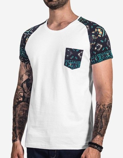 Printed sleeve raglan