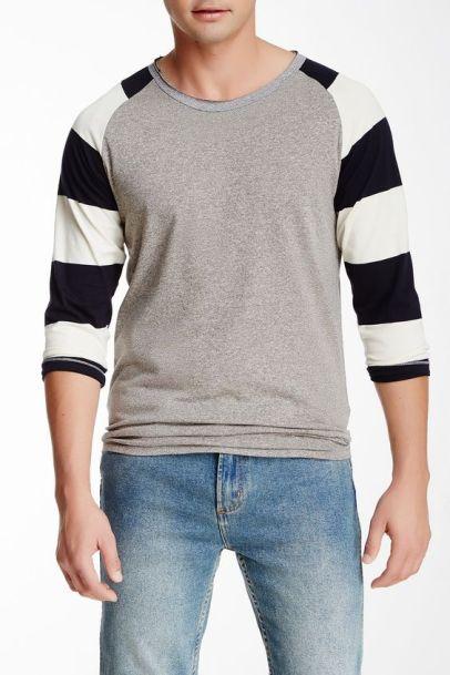 Striped sleeve raglan